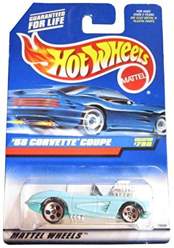 Hot Wheels '58 Corvette Coupe #780 Light Blue on Blue Car Card