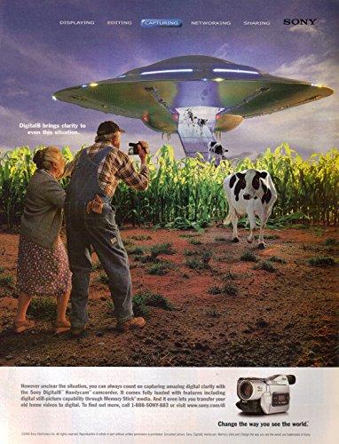 collectible-2000-sony-handycam-ufo-spaceship-flying-saucer-alien-cows-original-magazine-print-ad