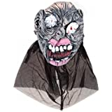 Segolike Men Women Halloween Party Props Horrible Cloth Latex Ghost Halloween Grimace Mask Costume Gray #2