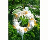 Handcrafted Flying Pig Wool Felt Birdhouse and Bird Nesting Material Wreath
