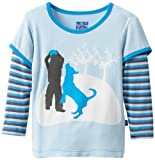 Kickee Pantalones Baby-Boys infantil juego de impresión camiseta de doble capa, niño y perro, 12-18meses Color: Boy y perro tamaño: 12-18meses infantil, bebé, niño