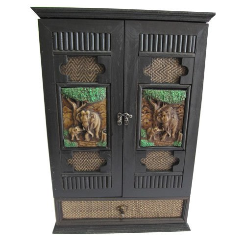 Small Wall Curio Cabinet Display Case Teak Wood 2 Door Box Thai Elephant Carved Showcase (Expresso Tower compare prices)