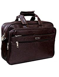 "Wides Stylish 16"" Brown Colour Faux Leather Full Expandable Laptop Sleeve Messenger Sling Office Bag With Shoulder..."