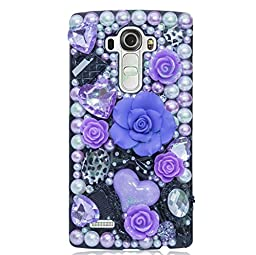 LG G5 Case, Sense-TE Luxurious Crystal 3D Handmade Sparkle Diamond Rhinestone Clear Cover with Retro Bowknot Anti Dust Plug - Big Rose Heart Cosmetic Flowers / Purple