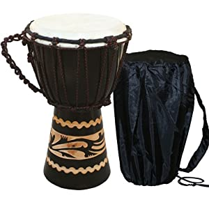 X8 Drums Kalimantan Djembe Drum with Tote Bag, Extra Small