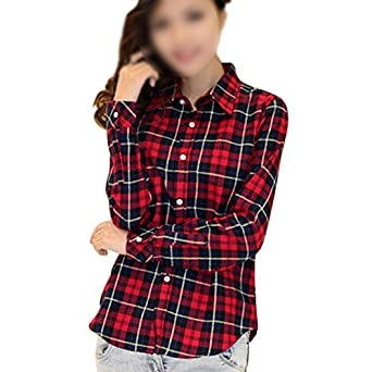 Sodial r womens button down lapel shirt plaids checks Womens red plaid shirts blouses