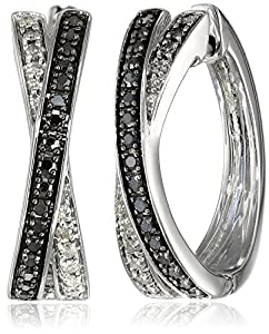 Sterling Silver Black and White Diamond Layered X Hoop Earrings (3/10 cttw, J-K Color, I2-I3 Clarity)