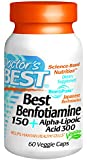 Doctor's Best Benfotiamine 150 Plus Alpha-Lipoic Acid 300 Mg Vegeratian Capsules, 60 Count