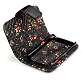 Terrapin Premium PU Leather Wallet Case/Cover/Pouch/Holster with Floral Interior for Blackberry Curve 9360 - Black