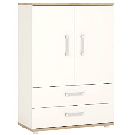 Furniture To Go 4Kids 2 Door, 2 Drawer Cabinet with Opalino Handles, Wood, White Gloss/Light Oak