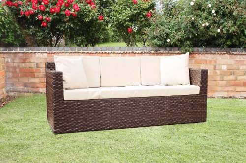 Richmond Outdoor Rattan Garden 3 Seat Sofa in Brown All Weather Furniture