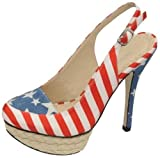 Womens Ladies American Flag Print High Heel Stiletto Sling-back Platform Court Shoes - O24