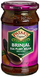 Patak's Brinjal Egg Plant Relish, Medium, 10-Ounce Glass Jars (Pack of 6) from Patak's
