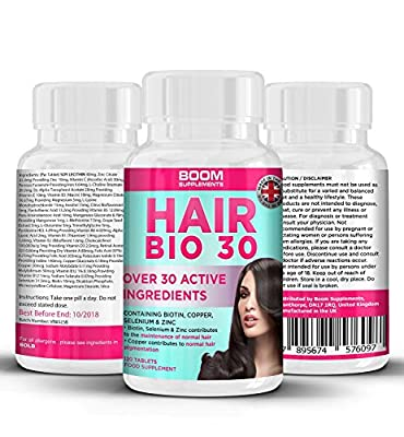 Hair Growth Supplements   #1 Hair Growth Vitamins   Biotin Hair Treatment   120 Natural Hair Thickener Tablets   FULL 4 Month Supply   Helps Grow Hair   Safe And Effective   Money Back Guarantee