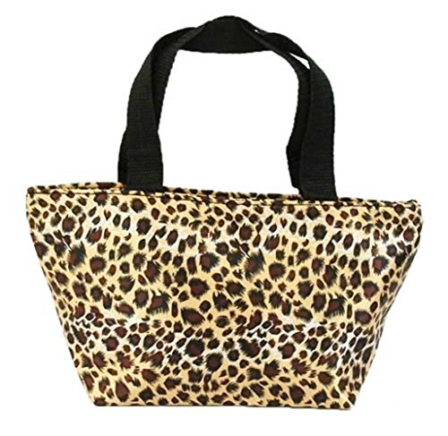 Createbag Women Vintage Chic Floral Printed Tote Lunch Bag Portable Handbag Leopard Print front-339230