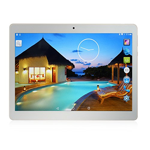 YUNTAB K107 quad-core Tablet 10.1'' 3G + WiFi DUAL SIM Android 5.1 3G Tablet PC Yuntab HD 1280X800 IPS MT6580, 1.3GHz Cortex A7 Bluetooth 4.0 16GB WiFi 3D Giochi Google Play Store Youtube Netflix BLANCO