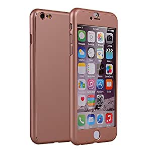 iPhone 6s Case,2win2buy [Full Body] Hybrid Tempered Glass with Acrylic Hard Case Cover Skin For iPhone 6s/iPhone 6 4.7 inch,Rose Gold