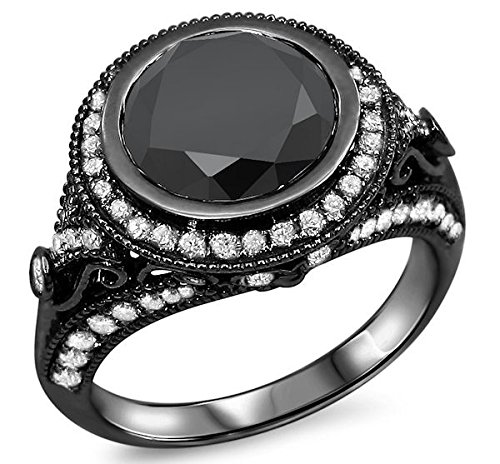 2.90Ct Round Black Diamond Bezel Set Vintage Style Engagement Ring 14K Black Gold Rhodium Plating Over White Gold