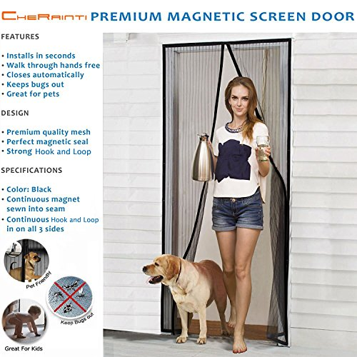 agnetic Screen Door - Hands Free Mesh Curtain with Full Frame Velcro and Push Pins - Fly Mosquito Insects Bug Proof for Sliding Glass Doors French Doors (Shower Glass Door Protector compare prices)