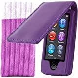Kolay® The New Apple iPod Nano 7G 7th Generation Purple Flip Case Cover & Sock