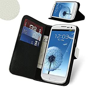 Celicious White Executive PU Leather Wallet Case for Samsung Galaxy S3 I9300 | Samsung Galaxy S3 Case Executive & Premium Leatherette Texture