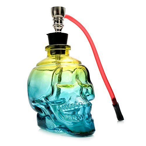 Skull-Design-Mini-Portable-6-Height-Tobacco-Hookah-Shisha-Hose-Pipe-Complete-Set-Premium-Acrylic