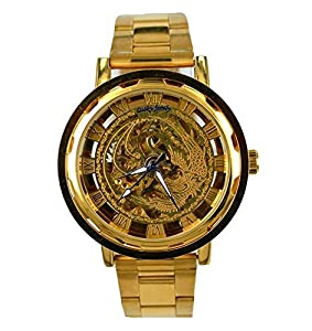 Gift In Box Gold Phoenix Skeleton Dial Stainless Steel Strap Atomatic Mechanical Men's Watch G8119-05