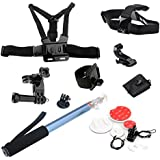 Alucky 8-in-1 Sport Camera Accessories Kit For Gopro Hero 4 3+ 3 2 Camera Head Belt Strap Mount+ Chest Belt Strap Mount + 1 PC Surface J-Hook + 3-way Adjustable Pivot Arm + Wrist Strap Mount+ Handheld Telescoping Extendable Pole With Tripod Mount Adapter