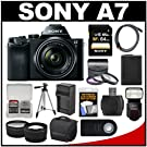 Sony Alpha A7 Digital Camera & 28-70mm FE OSS Lens with Sony HVL-F60M Flash + 64GB Card + Case + Battery + Tripod + Tele/Wide Lenses Kit