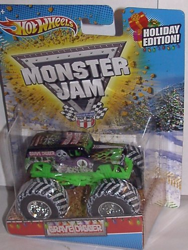 2011 HOT WHEELS CHRISTMAS HOLIDAY EDITION 1:64 SCALE GRAVE DIGGER MONSTER JAM TRUCK WITH SNOW ON THE TIRES AND CHRISTMAS TREES ON THE CARD