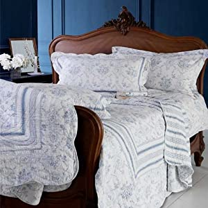 parure housse de couette 1 personne vienna toile de jouy blanc bleu 135 x 200 cm amazon. Black Bedroom Furniture Sets. Home Design Ideas