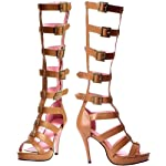 Leg Avenue Tan Buckle Strap Roman Gladiator Knee High Sandal Boots 7