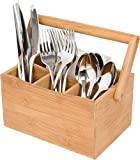 Trademark Innovations 100-Percent All Natural Bamboo Utensil Holder, with Handle