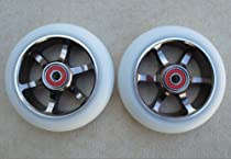 "110mm DIS ""White Guns"" 6-Spoke Metal Core Scooter Wheels (Pair -2 Wheels) with ABEC-9 Bearings and Spacers installed"
