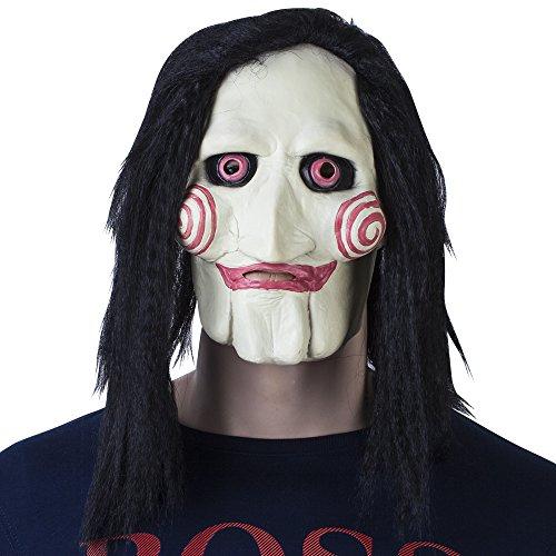"""VENKON - Film horror """"Saw"""" raccapricciante maschera """"Jigsaw"""" in lattice flessibile con capelli sintetici - taglia unica adulto - Colore: nero-bianco-rosso"""