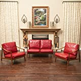 Coolidge Mid Century Design 3pcs Loveseat and Chair Set in Red Leather