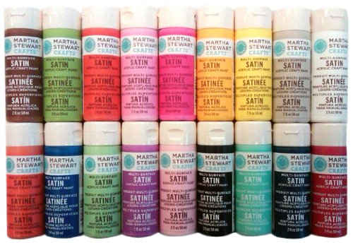 Martha stewart crafts satin paints 18 pack bright for Martha stewart crafts spray paint kit
