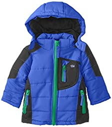 YMI Baby Boys\' Color Block Jacket Bubble with Detachable Hood, Royal, 12 Months