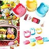 3pcs Set Pink Kitty Yellow Rabbit Blue Bear Bento Lunch Box Sushi Rice Cutter Mold