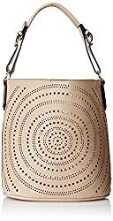 MG Collection Calista Perforated Shoulder Bag, Light Khaki, One Size