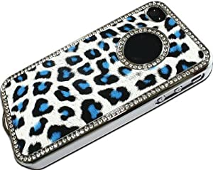 LE Luxury Unique Best Leopard Leather Print Czech Rhinestone Case Cover For Apple iPhone 4 4G 4S Crystal - Blue