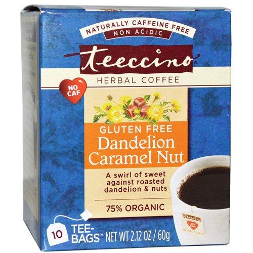 Teeccino Dandelion Caramel Nut Herbal Coffee - 10 Bags Per Pack -- 6 Packs Per Case.