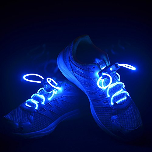 Flammi LED Shoelaces Light Up Shoe Laces with 3 Modes in 5 Colors Flash Lighting the Night for Party Hip-hop Dancing Cycling Hiking-type A (Blue) (Led Light Up Shoe Laces compare prices)