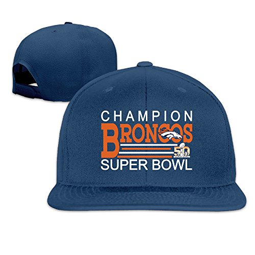 CYANY Super Bowl 50th Champion Denver 2016 Broncos Flat Bill Snapback Adjustable Leisure Cap Navy