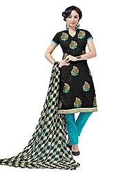 Craftliva Black Embroidery Cotton Jacquard Dress Material