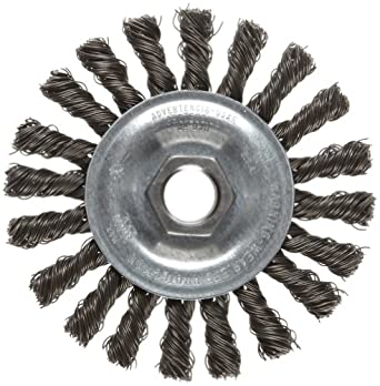 """Weiler Vortec Pro Wire Wheel Brush, Threaded Hole, Carbon Steel, Partial Twist Knotted, 4"""" Diameter, 0.020"""" Wire Diameter, 5/8-11"""" Arbor, 20000 rpm"""
