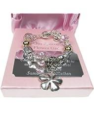 Flower Girl Gift, Flower Girl Charm Bracelet with Personalised Presentation Plaque, Flower Girl Gift Idea