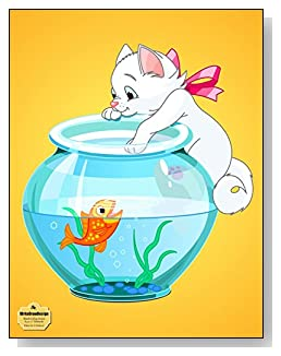 Kitten On A Fishbowl Notebook - Cute cartoon kitten hanging on the side of a fishbowl makes a fun and colorful cover for this blank and college ruled notebook with blank pages on the left and lined pages on the right.