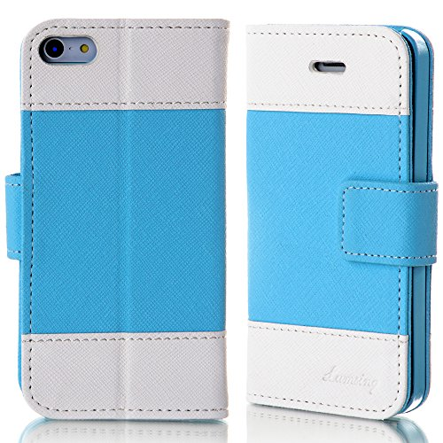 Mylife Maya Blue And Eggshell White - Modern Design - Textured Koskin Faux Leather (Card And Id Holder + Magnetic Detachable Closing) Slim Wallet For Iphone 5/5S (5G) 5Th Generation Smartphone By Apple (External Rugged Synthetic Leather With Magnetic Clip