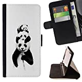 Smartphone Leather Wallert Case Protective Case Cover Money Card Holder Case for HUAWEI GOOGLE NEXUS 6P / CECELL Phone case / / Panda Bears Bamboo Black White Baby Cute /